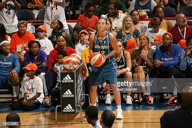 Laurie Koehn of the Washington Mystics shoots during the 3 Point Shootout prior to the 2007 WNBA AllStar Game on July 15 2007 at the Verizon Center...