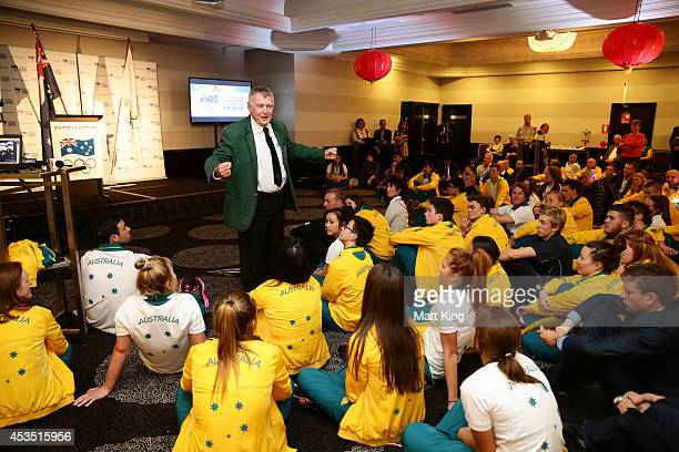 Laurie Lawrence speaks during the Australian Olympic Committee team farewell and flagbearer announcement ahead of the 2014 Youth Olympic Games at The...