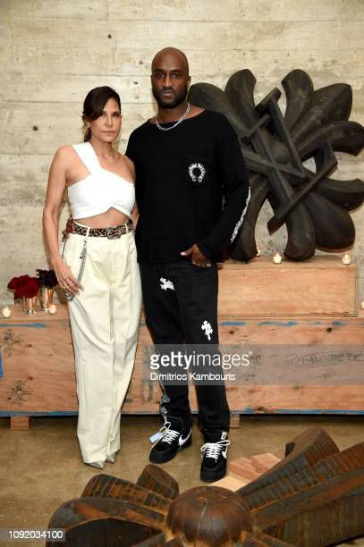 Laurie Lynn Stark and Virgil Abloh attend the Louis Vuitton Dinner Mens SS19 Temporary Residency on January 09, 2019 in New York City.