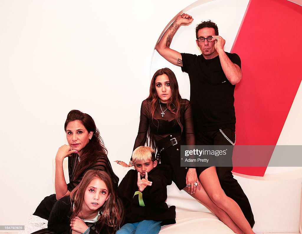 Laurie Lynn Stark, Richard Stark, Jesse Jo Stark, Frankie Belle Stark and Kristian Stark pose for a family photograph during the ELLEgirl Night in association with Chrome Hearts at Fiat Caffe on October 26, 2012 in Tokyo, Japan.