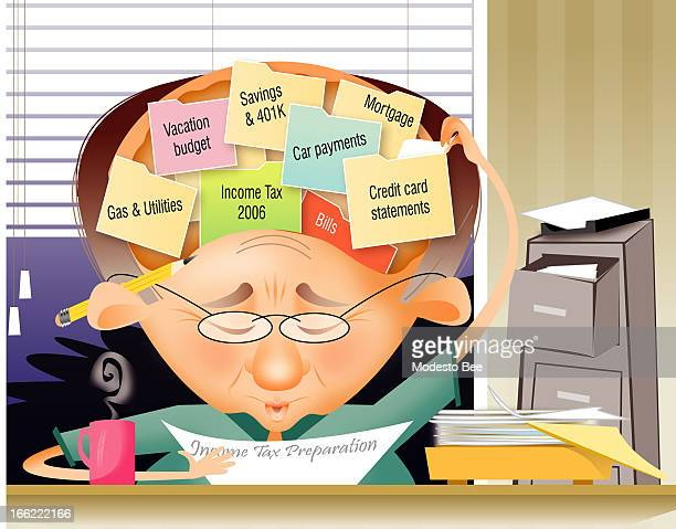Laurie McAdam color illustration of a man preparing his income tax return with a lot of things on his brain such as his 401K car payments mortgage etc