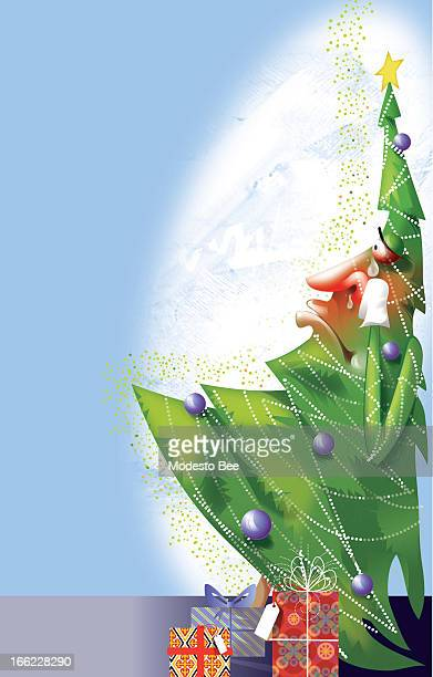 Laurie McAdam color illustration of a rednosed sniffling Christmas tree allergic to it's own self