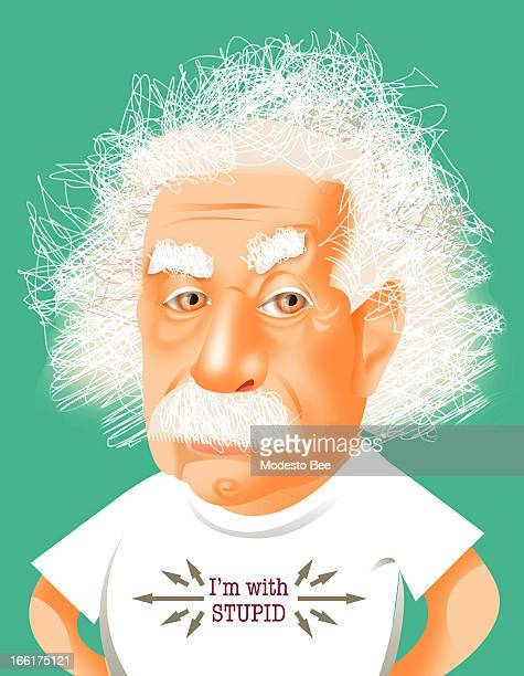 Laurie McAdam color illustration of Albert Einstein wearing an 'I'm with Stupid' tshirt that points at well everyone else