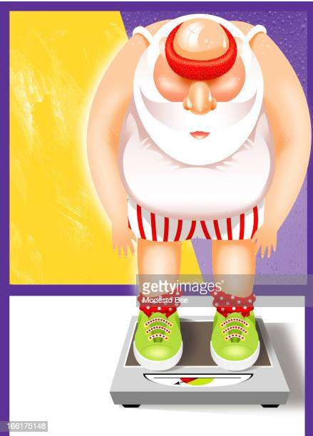 Laurie McAdam color illustration of an overweight Sant weighing himself on a scale can be used with stories about gaining weight at Christmas