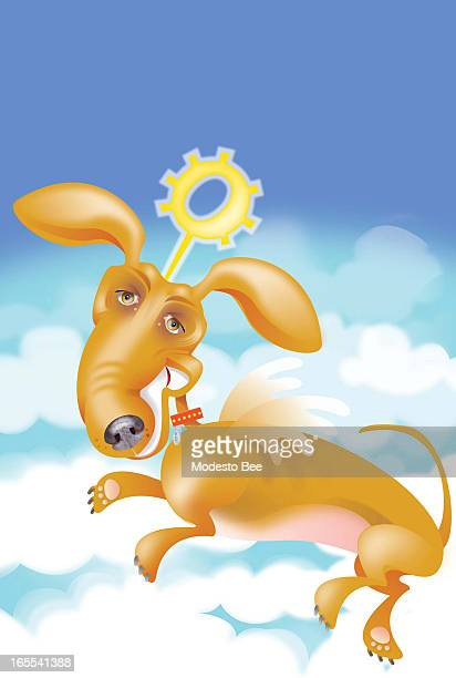 Laurie McAdam color illustration of angel dog with wings and collarshaped halo laying in heavenly clouds