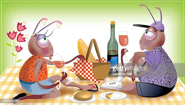 Laurie McAdam color illustration of ant couple enjoying romantic outdoor picnic with wine bread and cheese