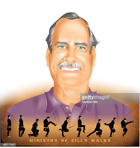 Laurie McAdam color illustration of comedian John Cleese with images of him doing his legendary walk for the Monty Python 'Ministry of Silly Walks'...