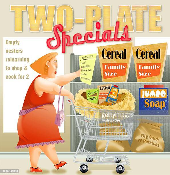 Laurie McAdam color illustration of grocerystore shopper searching for smaller more gourmet packaged foods for her shopping cart nest in a grocery...