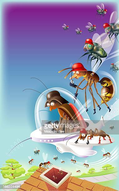 Laurie McAdam color illustration of insect invaders from space descending upon a home