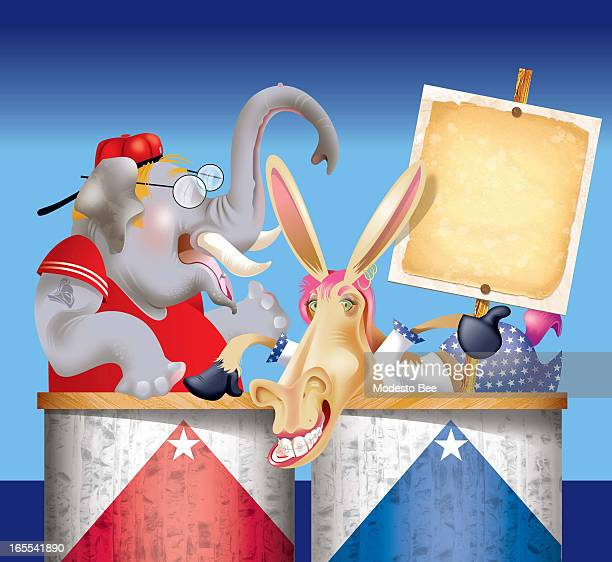 Laurie McAdam color illustration of of adolescent party animals Republican elephant in Tshirt and backwards baseball cap and teen Democratic donkey...