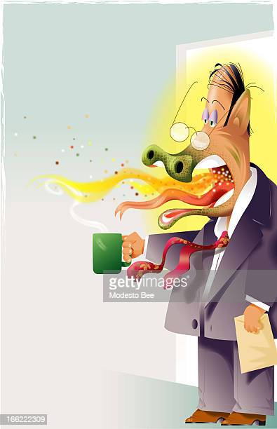 Laurie McAdam color illustration of office worker with coffee and a bad case of dragonbreath
