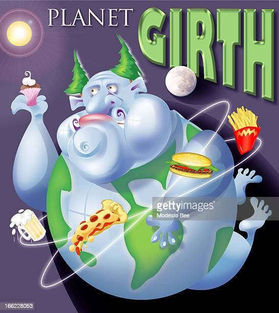 Laurie McAdam color illustration of planet Earth as the belly of obese human consuming processed foods around the globe with title 'PLANET GIRTH'