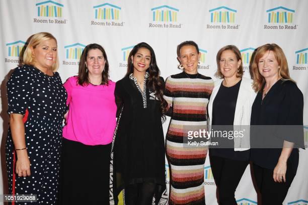 Laurie McMahon Erin Ganju Lilly Singh Anne Wojcicki Susan Wojcicki and Hilary Valentine attend Room To Read 2018 International Day Of The Girl...