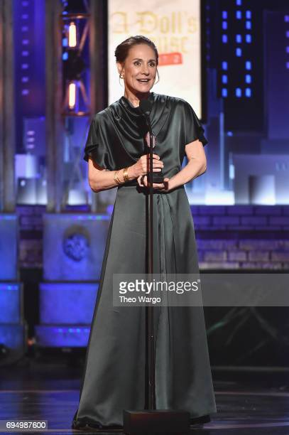 """Laurie Metcalf accepts the award for Best Performance by an Actress in a Leading Role in a Play for """"A Doll's House Part 2"""" onstage during the 2017..."""