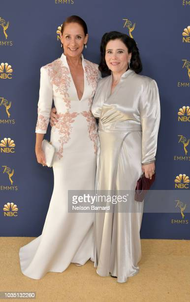Laurie Metcalf and Alex Borstein attend the 70th Emmy Awards at Microsoft Theater on September 17 2018 in Los Angeles California