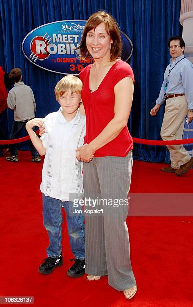 Laurie Metcalf and son Donovan during 'Meet The Robinsons' Los Angeles Premiere Arrivals at El Capitan Theater in Hollywood California United States