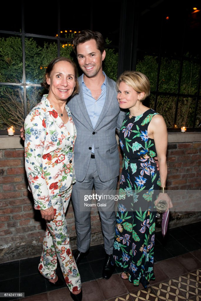 Laurie Metcalf, Andrew Rannells and Celia Keenan-Bolger attend the after party for Lucas Hnath's 'A Doll's House, Part 2' opening night starring Laurie Metcalf and Chris Cooper at Golden Theatre on April 27, 2017 in New York City.