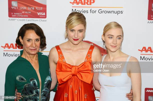 Laurie Metcalf Greta Gerwig and Saoirse Ronan attend AARP The Magazine's 17th Annual Movies For Grownups Awards at the Beverly Wilshire Four Seasons...
