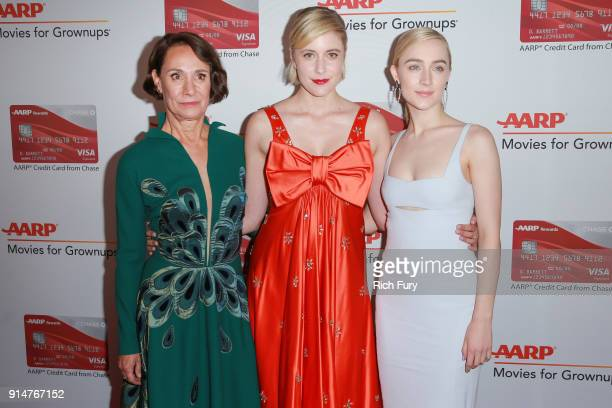 Laurie Metcalf Greta Gerwig and Saoirse Ronan attend AARP's 17th Annual Movies For Grownups Awards at the Beverly Wilshire Four Seasons Hotel on...
