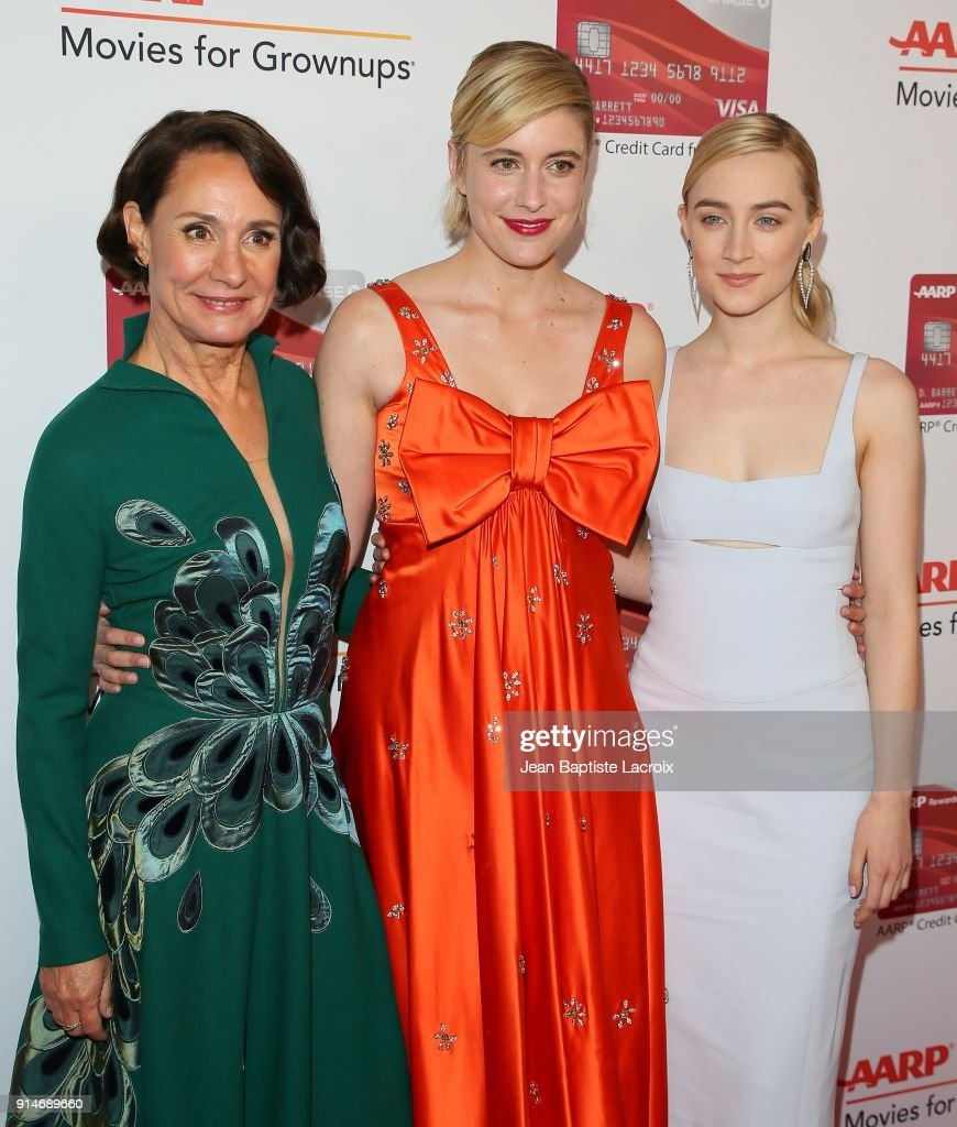 Laurie Metcalf, Greta Gerwig and Saoirse Ronan attend the AARP's 17th Annual Movies For Grownups Awards on February 05, 2018 in Beverly Hills, California.