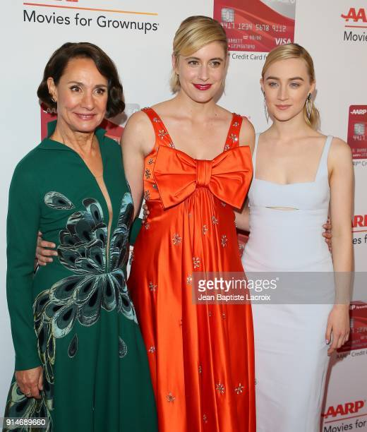 Laurie Metcalf Greta Gerwig and Saoirse Ronan attend the AARP's 17th Annual Movies For Grownups Awards on February 05 2018 in Beverly Hills California