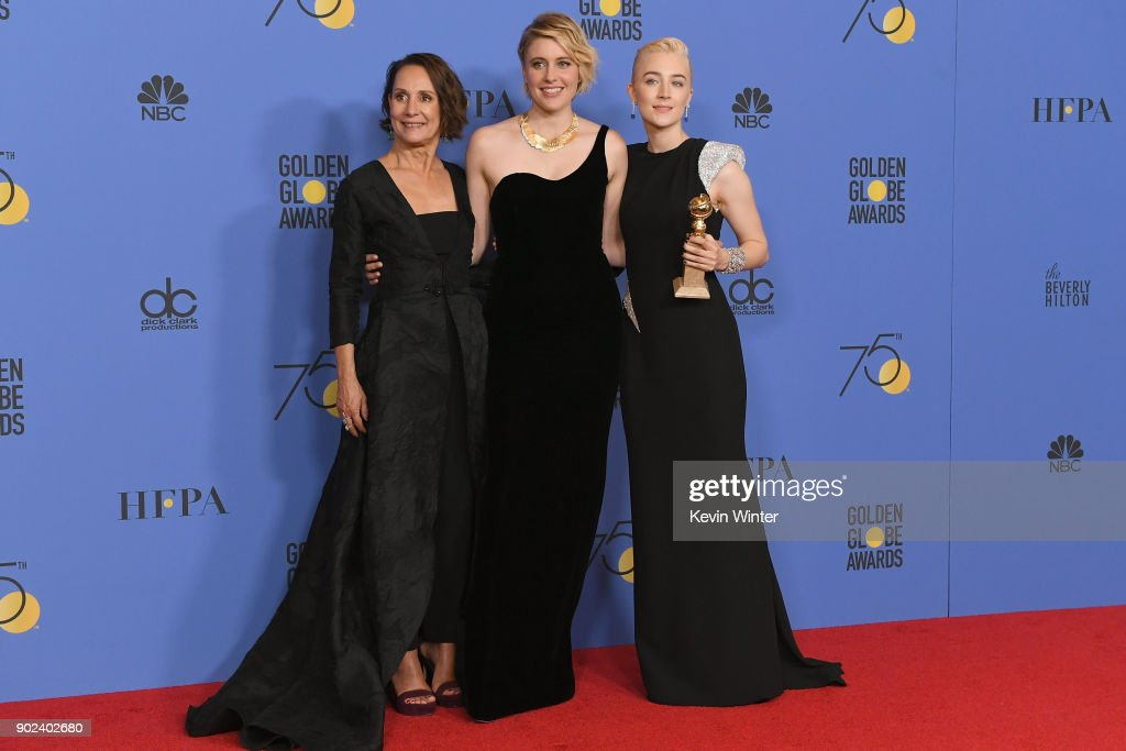 Laurie Metcalf, Greta Gerwig and Saoirse Ronan poses with the award for Best Motion Picture Musical or Comedy in 'Lady Bird' in the press room during The 75th Annual Golden Globe Awards at The Beverly Hilton Hotel on January 7, 2018 in Beverly Hills, California.