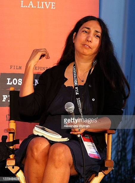 Laurie Ochoa speaks onstage during the Poolside Chat Capturing LA during the 2010 Los Angeles Film Festival at Ritz Carlton on June 24 2010 in Los...