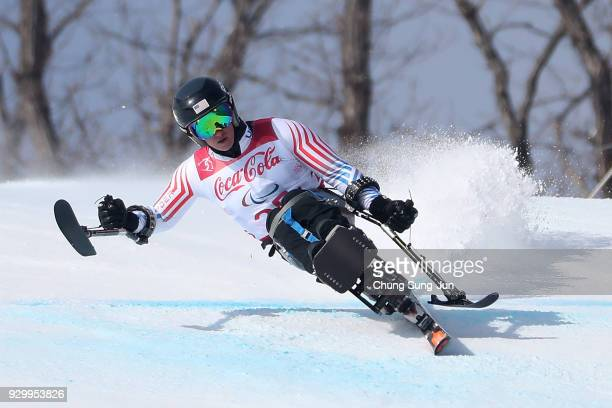 Laurie Stephens of United States compete in the Alpine Skiing Women's Downhill Sitting during day one of the PyeongChang 2018 Paralympic Games on...