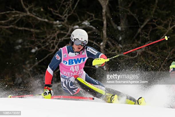 Laurie Taylor of Great Britain in action during the Audi FIS Alpine Ski World Cup Men's Slalom on January 20 2019 in Wengen Switzerland