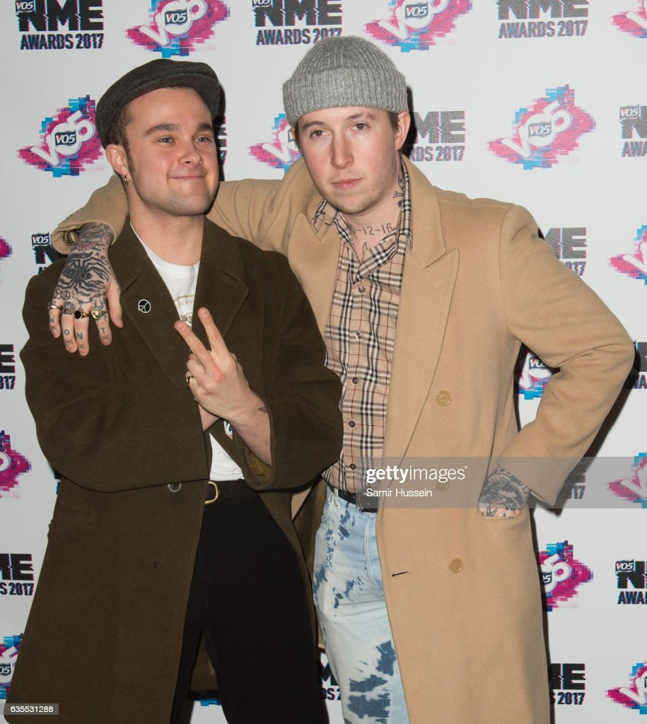 Laurie Vincent (right) and Isaac Holman of Slaves arrives at the VO5 NME awards 2017 on February 15, 2017 in London, United Kingdom.