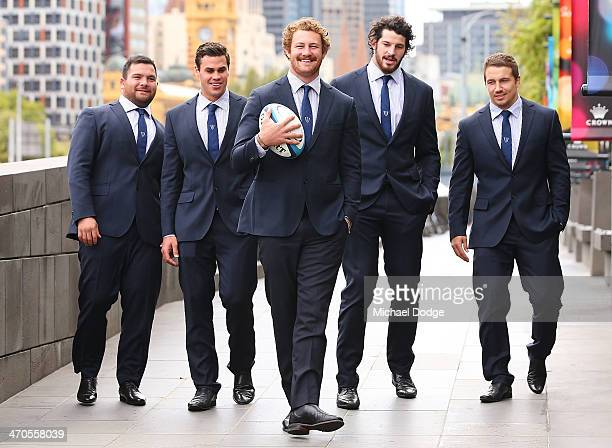 Laurie Weeks Tom English Scott Higginbotham Hugh Pyle and Scott Fuglistaller pose during the Melbourne Rebels Super Rugby season launch at Crown...