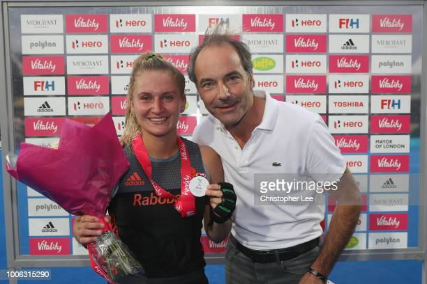 Laurien Leurink of Netherlands with her Player of the Match award during the Pool A game between China and Netherlands of the FIH Womens Hockey World...