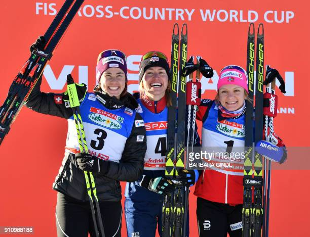 Laurien Van Der Graaff of Switzerland Sophie Caldwell of US and Maiken Caspersen Falla of Norway celebrate after the Ladies FIS Cross Country Sprint...