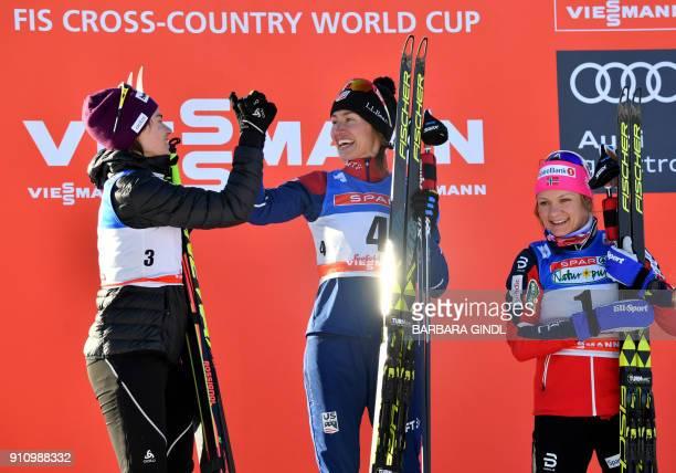 Laurien Van Der Graaff of Switzerland Sophie Caldwell of US and Maiken Caspersen Falla of Norway celebrate after the Ladies FIS Cross Country Sprint...