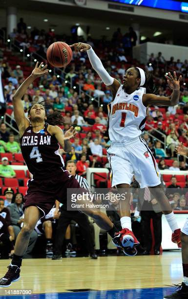 Laurin Mincy of the Maryland Terrapins blocks a shot by Sydney Carter of the Texas AM Aggies during the 2012 NCAA Women's Basketball Tournament...