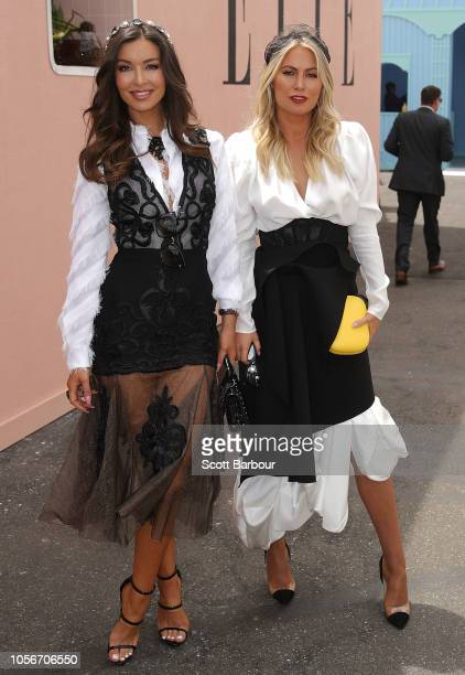 Laurina Fleure and fellow The Bachelor alumni Keira Maguire attend on Derby Day at Flemington Racecourse on November 3 2018 in Melbourne Australia