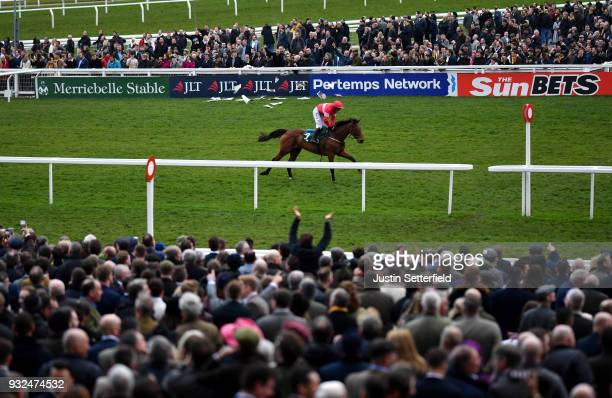 Laurina ridden by Paul Townend wins the Trull House Stud Mares' Novices' Hurdle during Cheltenham Festival St Patrick's Thursday at Cheltenham...