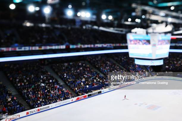 Laurine Lecavelier of France competes in the Ladies Free Skating during day three of the World Figure Skating Championships at Hartwall Arena on...