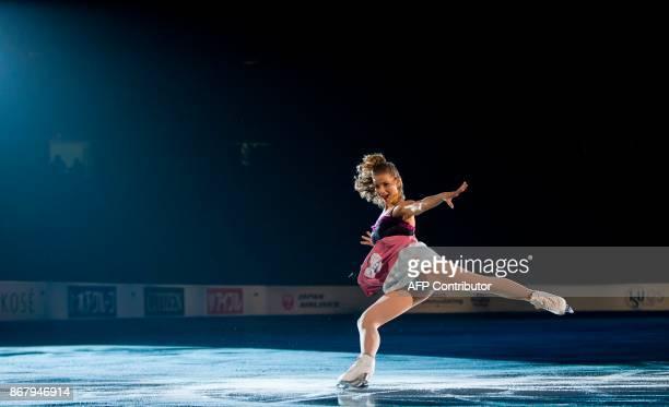 Laurine Lecavelier of France skates her exhibition program on at the ISU Grand Prix of Figure Skating's Skate Canada International at Brandt Centre...
