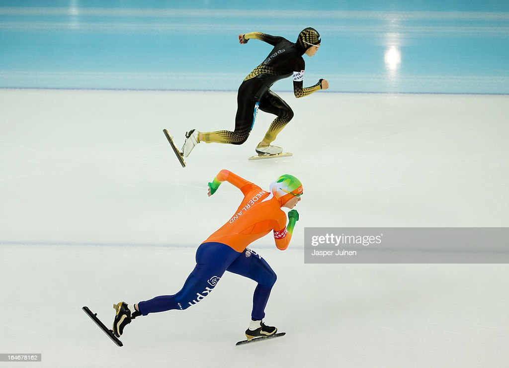 Laurine van Riessen (R) of the Netherlands competes against Miyako Sumiyoshi of Japan in the 500m race on day four of the Essent ISU World Single Distances Speed Skating Championships at the Adler Arena Skating Center on March 24, 2013 in Sochi, Russia.