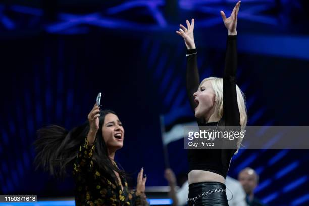 Laurita Spinelli and Carlotta Truman of Sisters from Germany during the 64th annual Eurovision Song Contest held at Tel Aviv Fairgrounds on May 18...