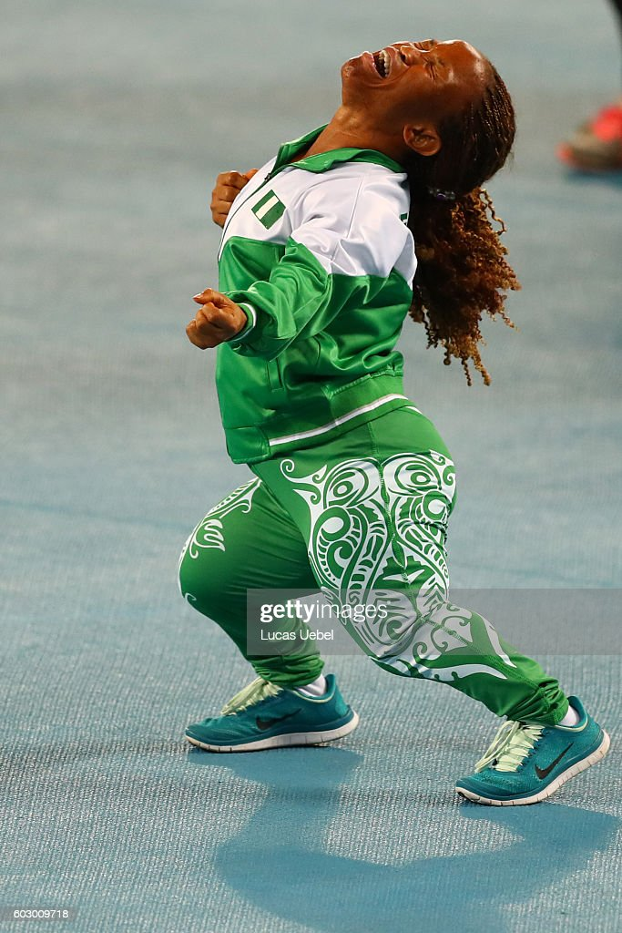 Lauritta Onye of Nigeria celebrates after break the world record in the Women's Shotput Final on day 4 of the Rio 2016 Paralympic Games at Olympic Stadium on September 11, 2016 in Rio de Janeiro, Brazil.