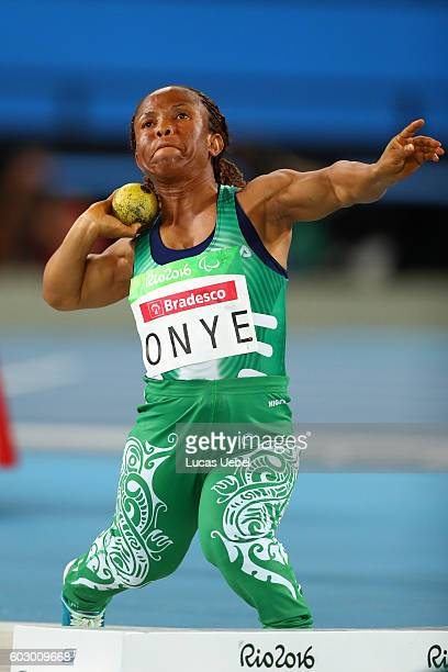 Lauritta Onye of Nigeria competes in the Women's Shotput Final on day 4 of the Rio 2016 Paralympic Games at Olympic Stadium on September 11 2016 in...