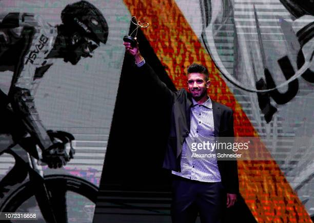 Lauro Chaman paralympic cyclist poses for photo after winning the best cycling athlete during the Brazil Paralympics Awards Ceremony 2018 at...