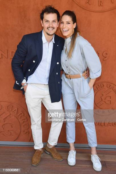 Laury Thilleman and Juan Arbelaez attend the 2019 French Tennis Open Day Seven at Roland Garros on June 01 2019 in Paris France