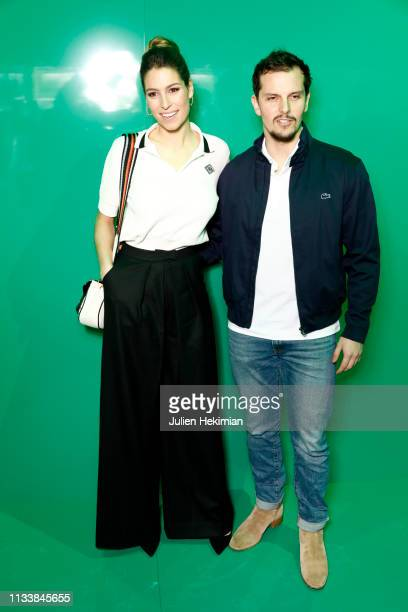 Laury Thilleman and Juan Arbelaez attend the Lacoste show as part of the Paris Fashion Week Womenswear Fall/Winter 2019/2020 on March 05 2019 in...