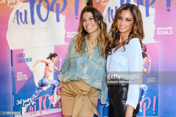 Laury Thilleman and Malika Menard are seen during the launch event for Laury Thilleman's book 30 jours pour être au TOP at La Salle de Sport at...