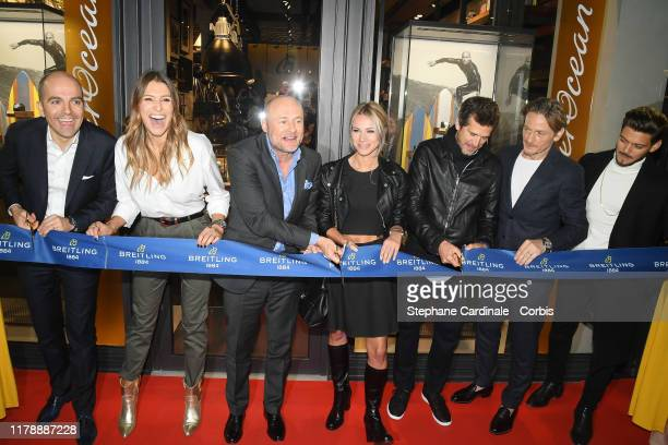 Laury Thilleman Breitling CEO Georges Kern Marion Rousse Guillaume Canet Benoit Magimel and Rayane Bensetti attend the Breitling 1884 flagship...