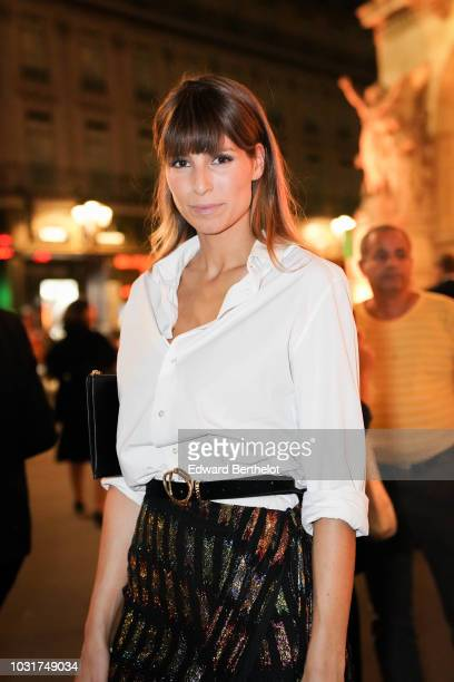 Laury Thilleman is seen outside the Longchamp 70th Anniversary Celebration at Opera Garnier on September 11 2018 in Paris France