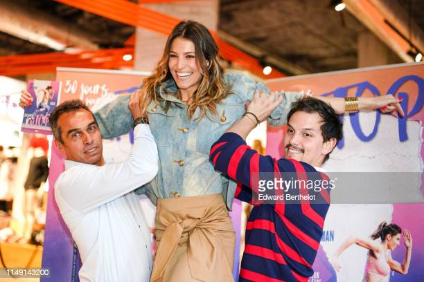 Laury Thilleman's father Laury Thilleman and Juan Arbelaez are seen during the launch event for Laury Thilleman's book 30 jours pour être au TOP at...